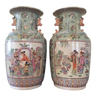 "Pair of Maitlan-Smith Vintage Asian Hand Painted Vases 14.75"" Tall For Sale"