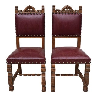 Spanish Colonial Distressed Leather Chairs - A Pair