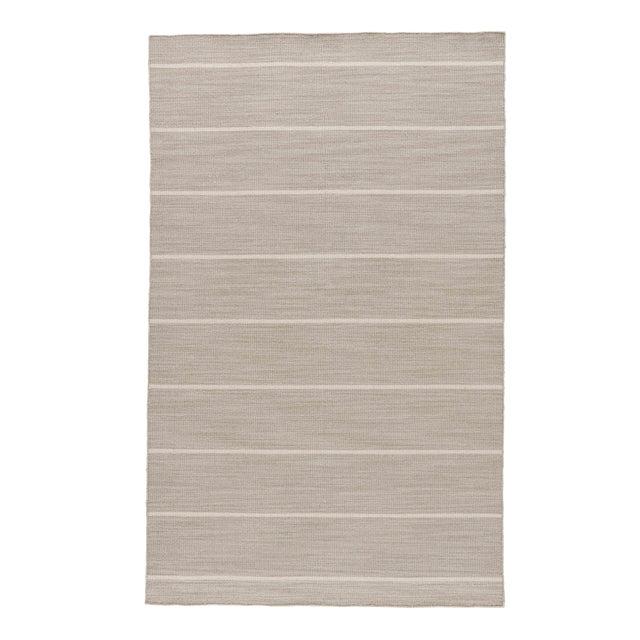 Jaipur Living Cape Cod Handmade Stripe Gray/ White Area Rug - 8′ × 10′ For Sale