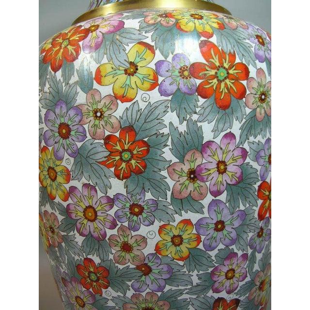 Large Vintage Chinese Millefleur Cloisonne Vase For Sale - Image 5 of 9