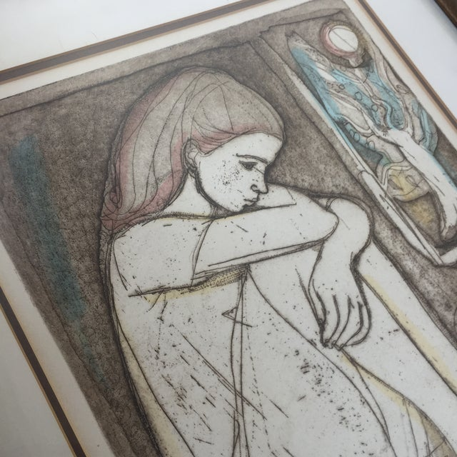 """Mid-Century Lithograph """"Dreaming Girl"""" by Irving Amen - Image 3 of 6"""