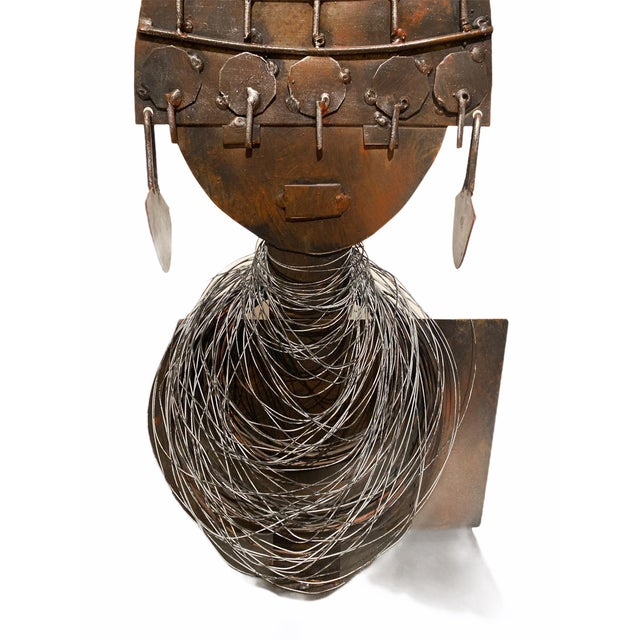 Late 20th Century Modernist Style African Queen Metal Sculpture For Sale - Image 4 of 11