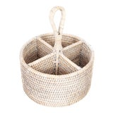 Image of Artifacts Rattan Round 4 section Caddy/Cutlery Holder in White Wash For Sale