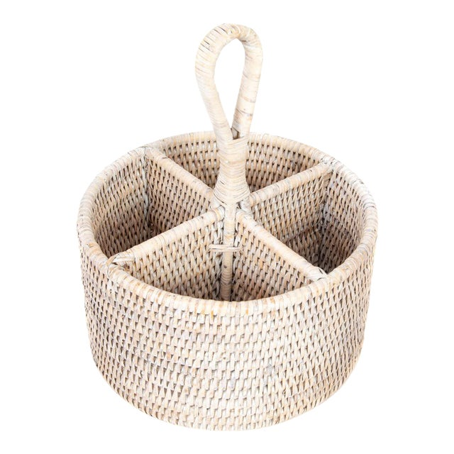 Artifacts Rattan Round 4 section Caddy/Cutlery Holder in White Wash For Sale