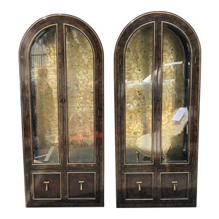 Pair of Mastercraft Burled Wood and Brass Vitrine Cabinets by William Doezema