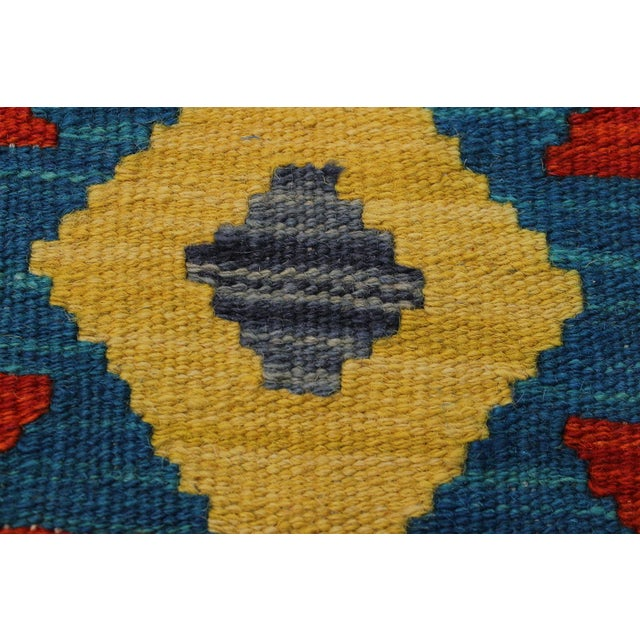 Contemporary Bohomian Style Kilim Lan Ivory/Blue Hand-Woven Wool Rug - 8'1 X 9'7 For Sale In New York - Image 6 of 8