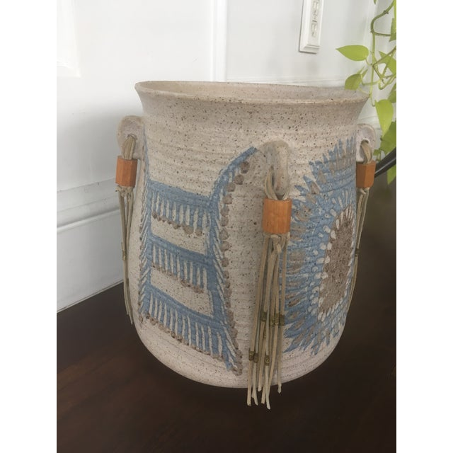 Vintage Mid Century Feather Native American Style Pottery Planter For Sale - Image 11 of 13