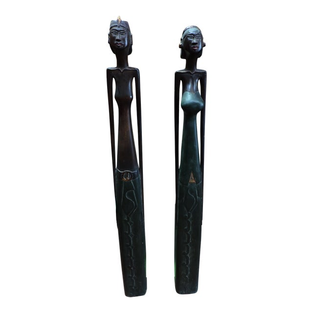 Indonesian Carved Wooden Female and Male Figures For Sale