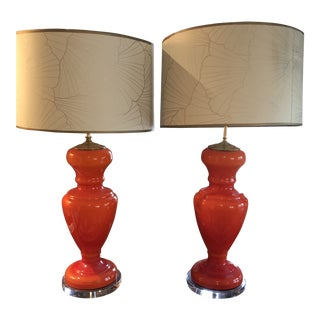 Murano Orange Glass Table Lamps - a Pair For Sale