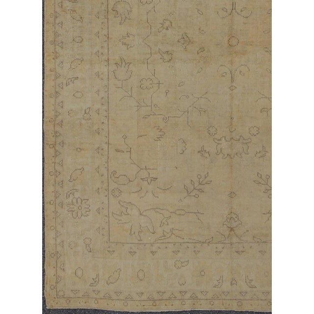 Keivan Woven Arts, H8-0603, Early 20th Century Antique Turkish Oushak Rug in Cream and Beige colors and Lavender?Brown...