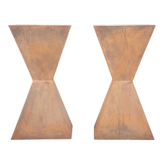 Brancusi Style Steel Side Tables - A Pair For Sale
