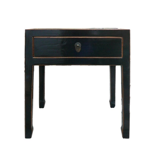Square Black Single Drawer Side Table - Image 2 of 6