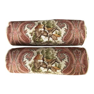 Vintage P. Kaufmann Horse & Jockey Paisley Toile Bolster Pillows - a Pair For Sale