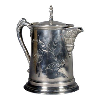 Silver Water Pitcher with Japanese Flower Etching For Sale
