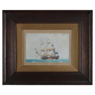 Late 19th Century Antique English Nautical Maritime Mixed Media Painting For Sale