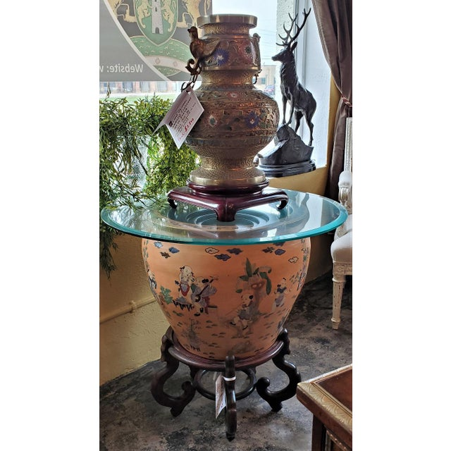 Large Chinese Fish Bowl Side Table With Stand For Sale - Image 10 of 13