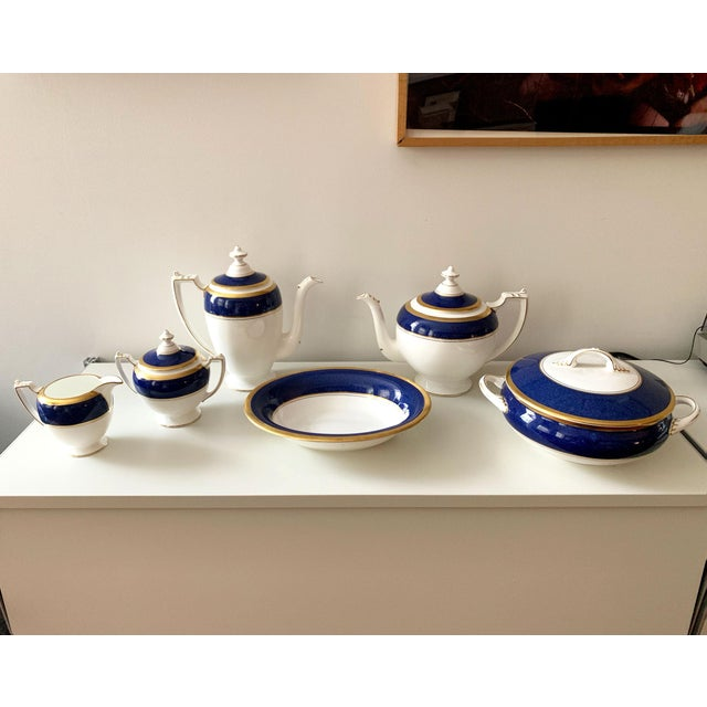 Hollywood Regency Athlone Blue and Gold Coalport China Tea Service - Set of 10 For Sale - Image 3 of 9