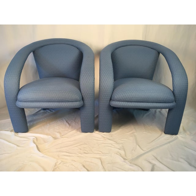 Blue Vintage Carson Chairs- a Pair For Sale - Image 8 of 10
