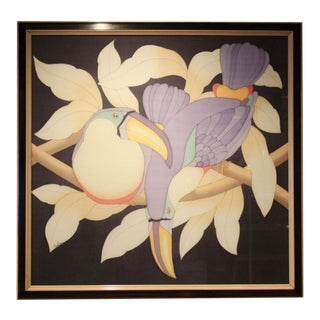 Toucans in Black and Lilac Hand-Signed '80s Aquarelle on Silk, France For Sale