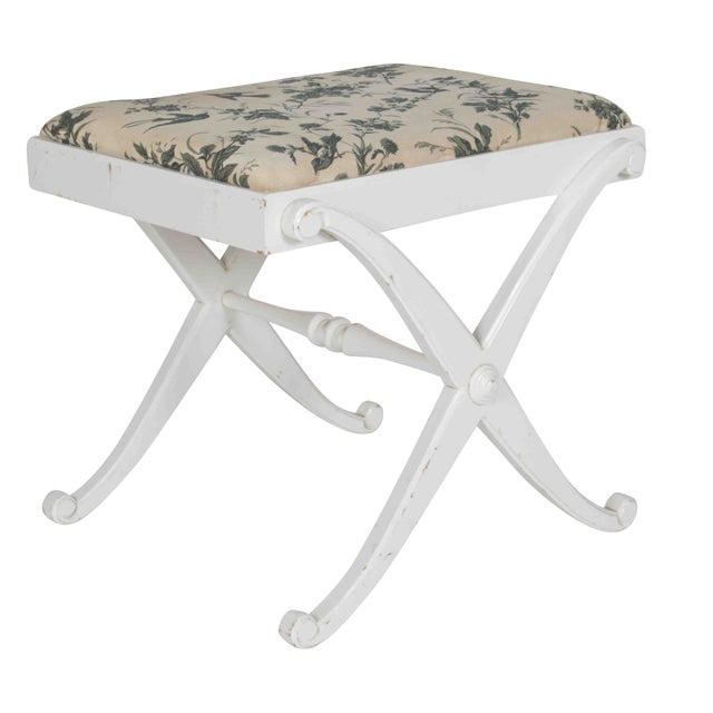 Painted Wood X Bench With Blue and White Cushion - Image 1 of 4