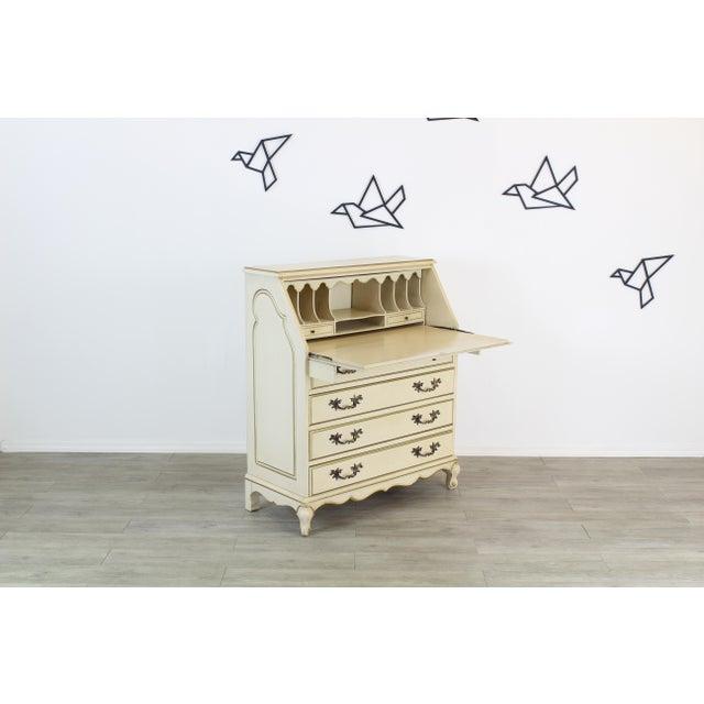 Traditional Secretary Desk, Cream Secretary Desk For Sale - Image 4 of 12