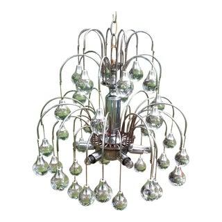 20th Century Stilnovo Style Glass Silver Chandlier For Sale