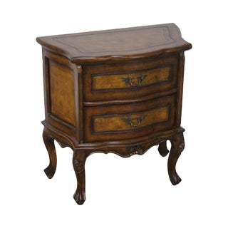 French Louis XV Style Bombe Leather Top Commode Nightstand For Sale