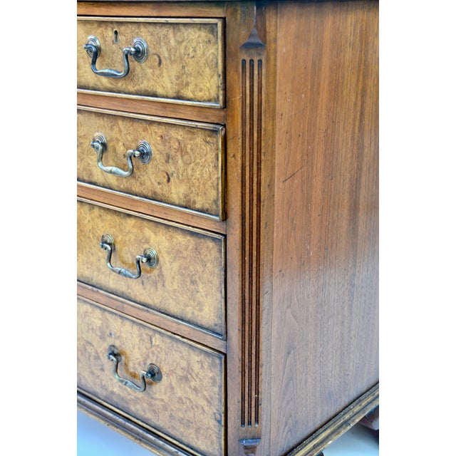 English Georgian Style Walnut Burl Chest of Drawers For Sale In Los Angeles - Image 6 of 11