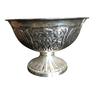 Vintage Silver Footed Floral Bowl For Sale