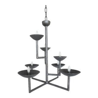 Plaster Seven Cup Bronze Finish Chandelier by Apsara Interior For Sale