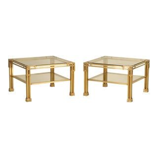 Solid Brass Coffee Tables - A Pair For Sale