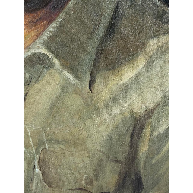 1940s Vintage Portrait of a Man in White Shirt Oil on Canvas Painting For Sale In Los Angeles - Image 6 of 12