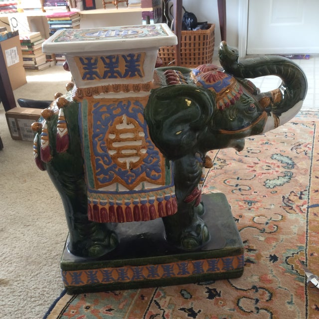 1980s Ceramic Decorative Elephant Statue For Sale - Image 5 of 8