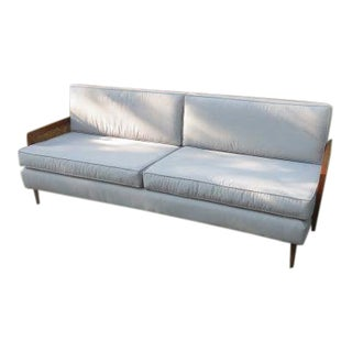 Mid-Century Modern Wood Framed Cane Sofa For Sale