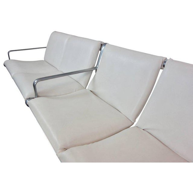 Hannah & Morrison Four-Seat White Leather Airport Sling Sofa For Sale - Image 9 of 9