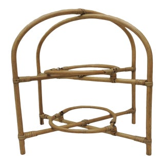 Vintage Bamboo With Rattan Details Two-Tier Serving Stand For Sale