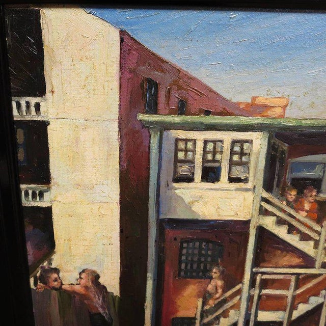 1940s Original American Urban Scene Oil Painting by Thaddeus J. Haduch, 1947 For Sale - Image 5 of 8
