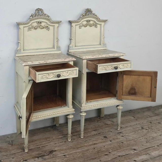 Pair Antique Italian Louis XVI Painted Nightstands For Sale - Image 10 of 13