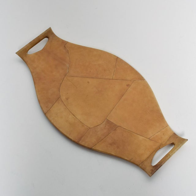 Mid-Century Modern Italian Sculptural Wood & Goatskin Service Tray For Sale - Image 9 of 9