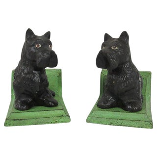 Black Scottie Cast Iron Bookends - A Pair For Sale
