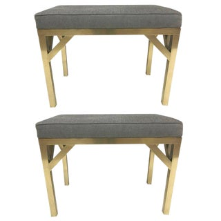 Pair Brass French Modernist Upholstered Benches For Sale