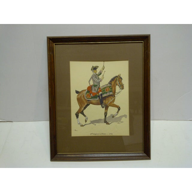 "Mid 20th Century ""2nd Regiment of Horse - 1751"" Framed & Matted Color Print For Sale - Image 5 of 5"