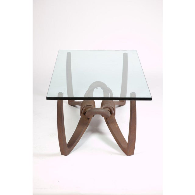 "Hand forged studio cocktail / coffee / low table with rectangular glass top. Signed ""Bassett 1985"". A very unique and..."