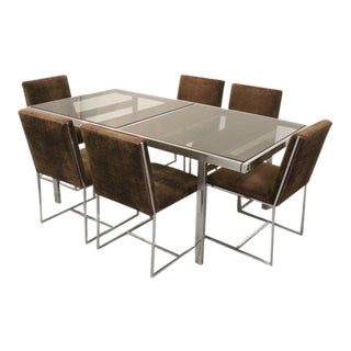 Milo Baughman for Design Institute of America Chrome and Glass Dining Set