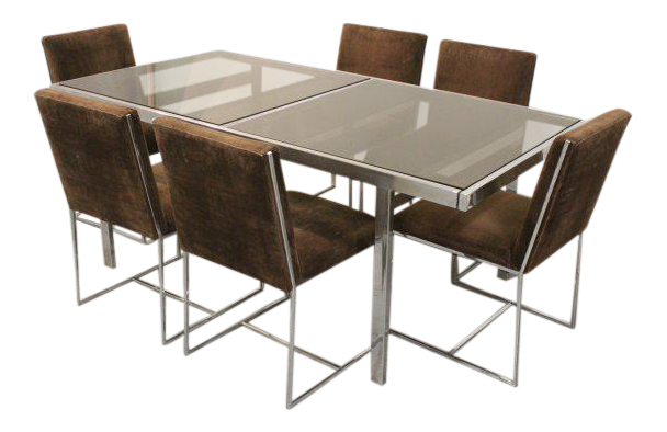 Milo Baughman For Design Institute Of America Chrome And Glass Dining Set    Chairish