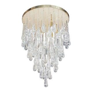 d'Lightus Bespoke Brass/Murano Clear Glass Drops, Customizable Flush Mount For Sale