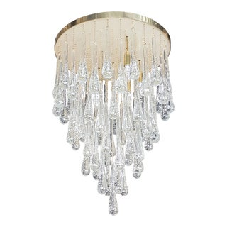 D'Lightus Bespoke brass/Murano clear glass drops with air bubbles inside, flush mount