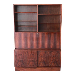 Poul Hundevad Danish Modern Rosewood Bookcase W/ Drop Front Secretary Desk For Sale