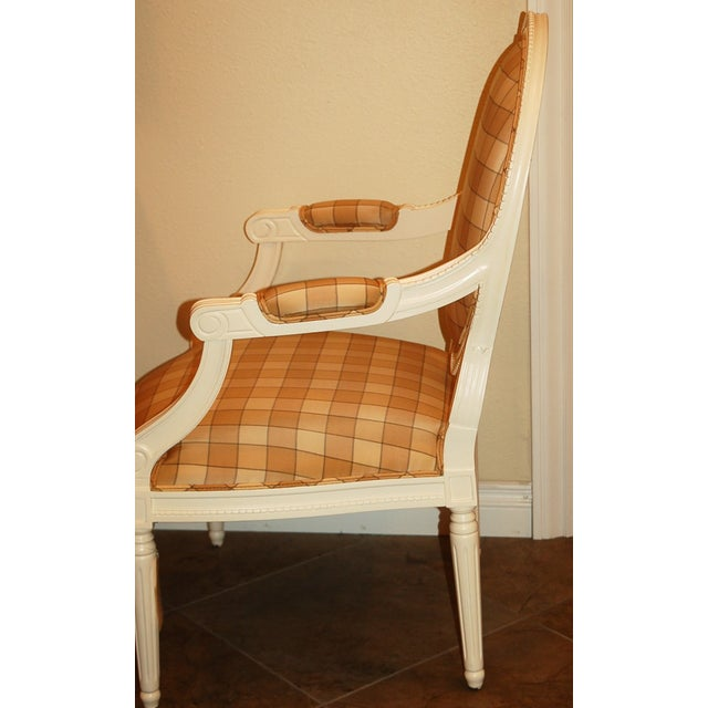 Oval-Back Plaid Upholstered Armchair - Image 3 of 6
