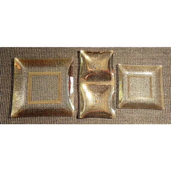 Vintage Rojack Glass Dishes with Gold Accents - 3 - Image 2 of 6